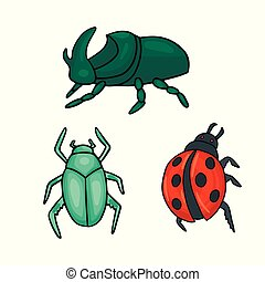 Three types of beetles. Ladybug and green bug. Vector illustration