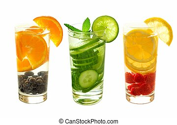 Three types of detox water with fruit - Three types of ...