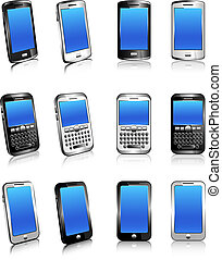 Three types of phones in 2D and 3D - Stylish modern cell...