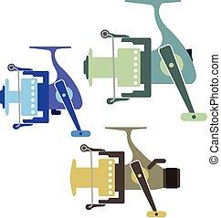 Three types of spinning reels vector illustration