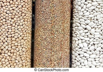 three types of vegetables, lentils, chickpeas beans