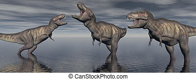 three tyrannosaure dinosaur - 3d render - three tyrannosaure...