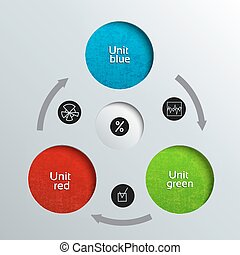 Three Unit Business DiagramTemplate