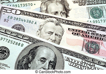 three usa presidents - franklin grant jackson on usa dollars...
