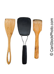 Three Used Spatulas on White - Vertical photo of three...
