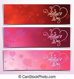 Three Valentine Banners - Red Pink