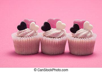 Three valentines day cupcakes