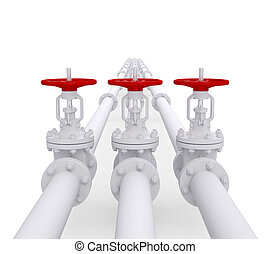 Three valves on the pipeline. Isolated render on a white...