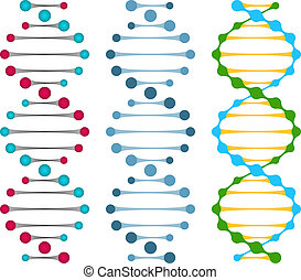 Three variants of double strand DNA molecules showing the...