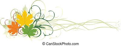 Three varicolored maple leaves. Banner. Vector illustration