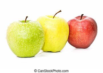 three varieties of apple