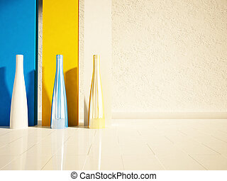 three vases in the room