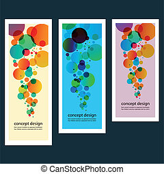 Three vector abstract color circle set eps