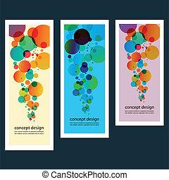 Three vector abstract color circle set eps