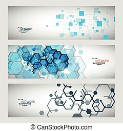 Three vector banner with abstract colored shapes.