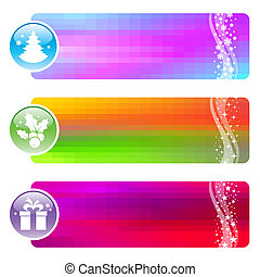 Three vector banners with Christmas symbols