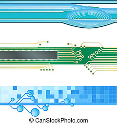 Three vector corporate technology site website banner backgrounds