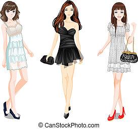 vector girls - three vector girls