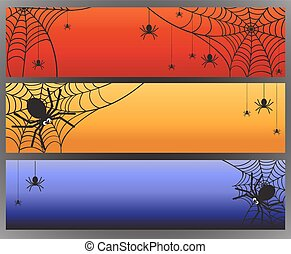 Three vector Halloween banners with spider and spiderweb. ...