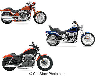 Three vector illustrations of motorcycle. Help for designers...