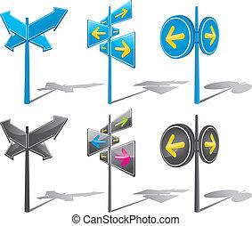 three version arrow signs.