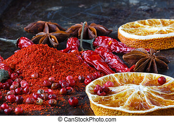 Three versions of Red Pepper on dark background. Spicy food concept. Indian Spice collection.