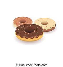 Three versions of the donut in 3D style.