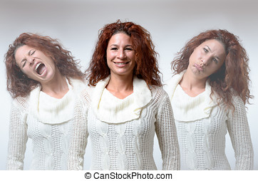 Three versions of woman in different moods