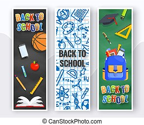 Three vertical back to school banners. Backpack, basketball ball, pen and school supplies on colorful background. Back to school education concept