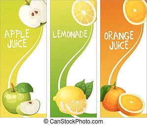 Three vertical banners with apple, leon and orange fruits