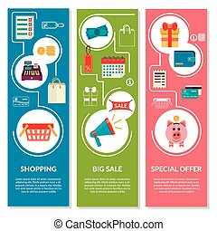 Three vertical banners with shopping icons in flat style. Vector sale icons