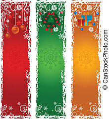 Three vertical Christmas banners. Blue, green, red with ...