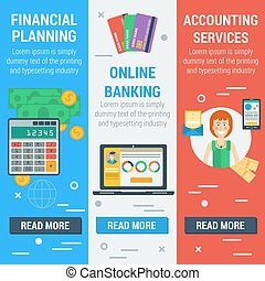 Three vertical financial banners