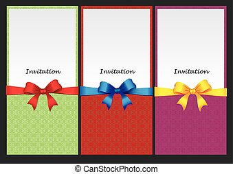 Three vertical invitation card