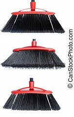 three views of a black broom isolated on white background