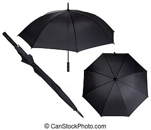 three views of large black umbrella isolated on white