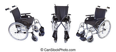 Three views of the wheelchair isolated on white