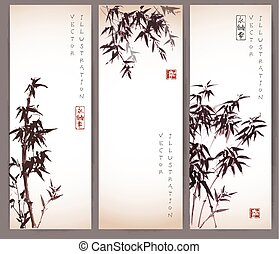 Three vintage banners with bamboo trees.