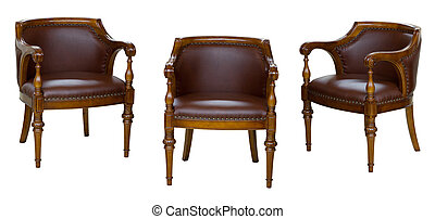 Three vintage chairs isolated on white
