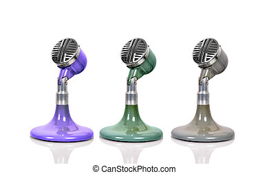 Three vintage microphone