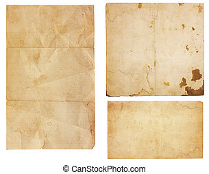 Collection of three aged, worn and stained paper scraps isolated on white with room for text or images.