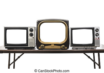 Three Vintage Televisions Isolated with Empty Screens