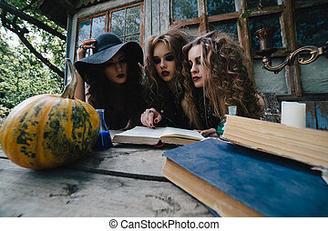 Three vintage witches perform magic ritual, at the table, ...