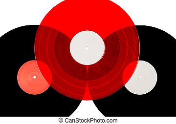 Three vinyl records on white background