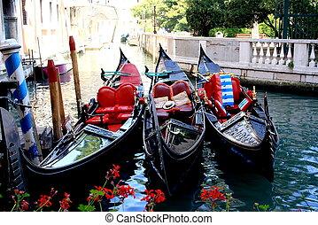 Three waiting gondola