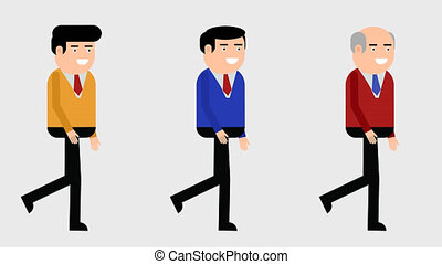 Three walking characters cycle with transparent background