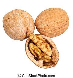 three walnuts close up