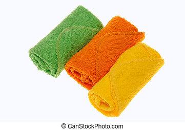 Three Wash Cloth - Three bright colored Wash Cloths on white...