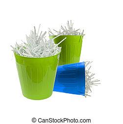 Three waste basket with paper