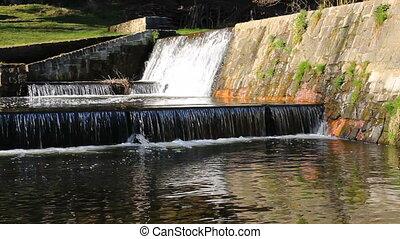 Three waterfall cascade on river Vltava near ruin Divci ...